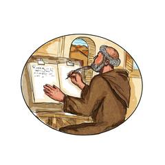 Fototapeta Medieval monk  in monastery writing book Drawing