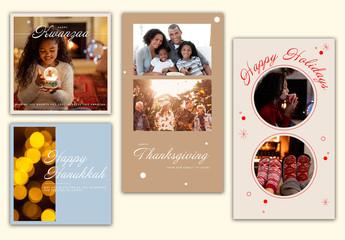 Winter Holiday Social Media Layout Set