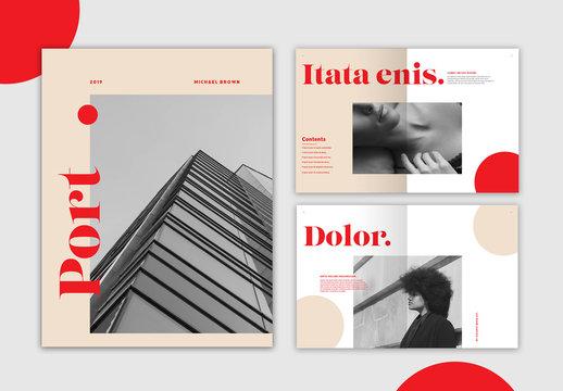 Cream and Red Portfolio Layout