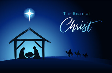 Christmas scene of baby Jesus in the manger with Mary and Joseph in silhouette, Bethlehem star and three kings on camels. Christian Nativity with text The Birth of Christ, vector banner