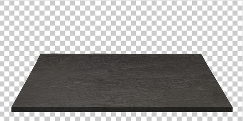 Empty black stone or granite table top isolated on checkered background including clipping path