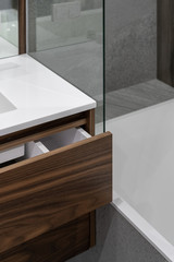Element of modern drawer in contemporary bathroom