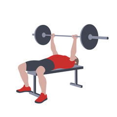 CrossFit workout training for open games championship. Sport man training barbell chest bench press exercise with equipment in the gym for healthy beautiful body shape motivation.