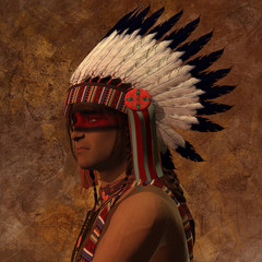 Indian Chief Portrait - The American Indian is a member of an indigenous civilization that was a hunting and gathering group of people.