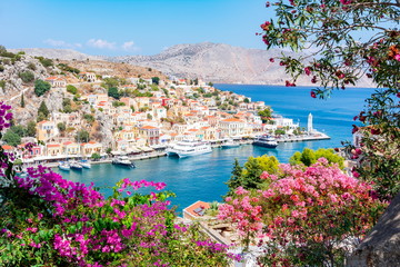 Symi town cityscape, Dodecanese islands, Greece Fototapete