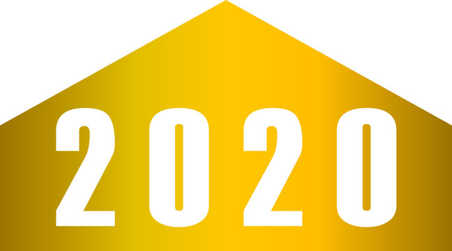 year 2020 - stripes with numbers - golden gradient simple - vector