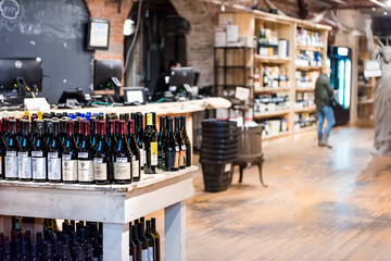 New York City, USA - October 30, 2017: Market food shop interior inside in downtown lower Chelsea neighborhood district Manhattan NYC, Wine Vault alcoholic beverages