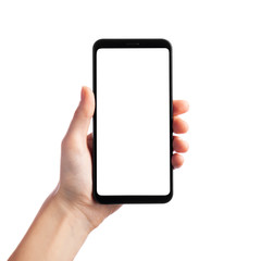 Woman holding smartphone with empty screen isolated on white background, front view. Space for text