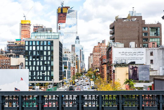 New York City, USA - October 30, 2017: Highline, high line, urban garden in NYC with Chelsea West Side by Hudson Yards looking at view under