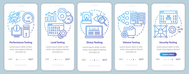 Non-functional software testing onboarding mobile app page screen vector template. Program analysis. Walkthrough website steps with linear illustrations. UX, UI, GUI smartphone interface concept