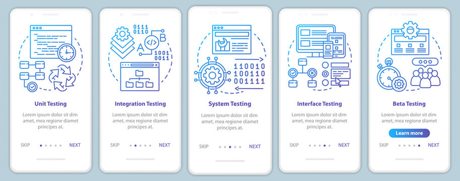 Functional software testing onboarding mobile app page screen vector template. Progam usability analysis. Walkthrough website steps with linear illustrations. UX, UI, GUI smartphone interface concept