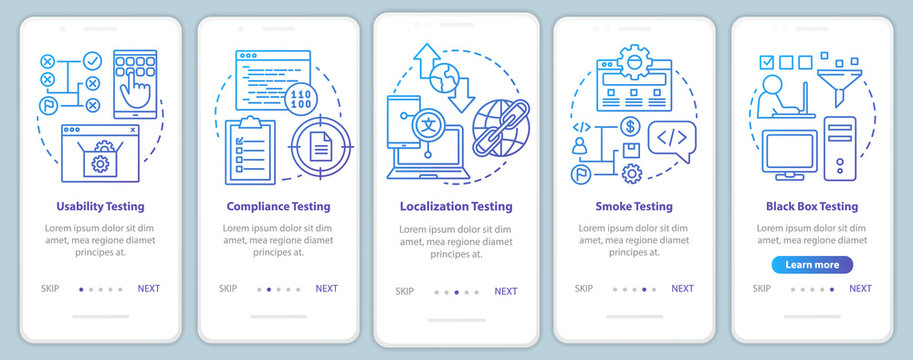 Non-functional software testing onboarding mobile app page screen vector template. Usability analysis. Walkthrough website steps with linear illustrations. UX, UI, GUI smartphone interface concept