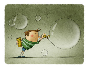 funny illustration of a boy blowing hard to make a big soap bubble.
