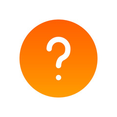 FAQ mark icon, Symbol of Help and Questions. Round icon orange color isolated on white background. Button illustration for Web Site of Mobile App.