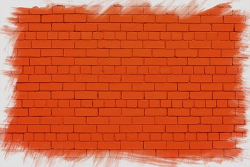 Red wall with jagged white frame.