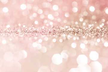 Pink gold, pink bokeh,circle abstract light background,Pink Gold shining lights, sparkling...