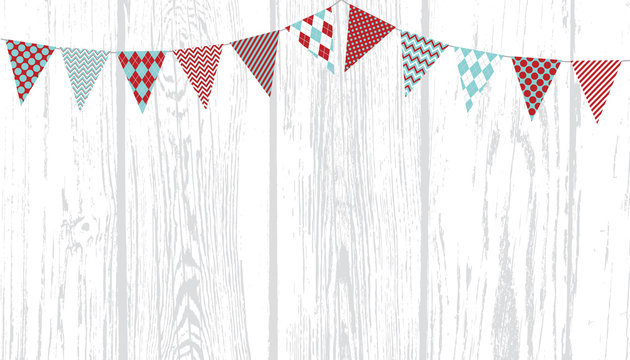 Christmas Aqua Blue and Red Bunting on Weathered White Wood Planks Vector Background. Triangle Flags Garland Backdrop with Copy Space.