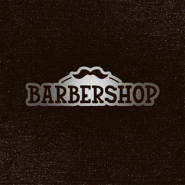Vector illustration of barbershop lettering for banner, leaflet, poster, clothes, logo, advertisement design. Handwritten text for template, signage, billboard, printing, price list of the barbers
