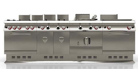 Stainless steel industrial kitchen isolated, 3d render, 3d illustration