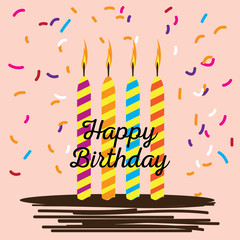 Happy birthday card with cake candles and ornaments - Vector illustration