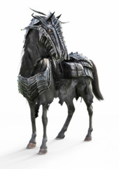 Front angled view of a posing black armored war horse on a isolated white background. 3d rendering
