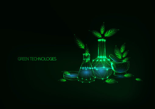 Futuristic eco friendly green technology concept with science laboratory glassware and green leaves