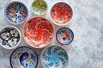 Obraz Collection of empty moroccan colorful decorative ceramic bowls - fototapety do salonu