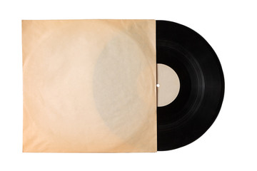 vintage old music record in old package, vinyl record with pure label isolated on white background, copy space, mock up