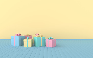 3d render interior with realistic colorful gift boxes with ribbon bows, mock up in the room. Empty space for party, promotion social media banners, posters.