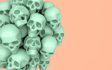 Human scull 3d rendering. Pastel green death's-head on beige background