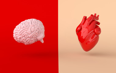 Heart and brain 3d rendering. Emotions and rational thinking conflict concept. Soul and intelligence balance