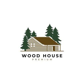 Wood house illustration logo design vector template.Cabin log icon