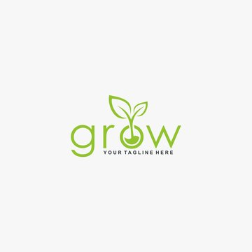 Letter grow logo design vector. Leaf tree abstract design. Natural organic logo design.