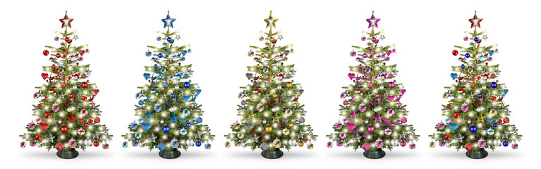 Set collection of natural nordmann christmas tree, decorated with silver red blue gold pink and...