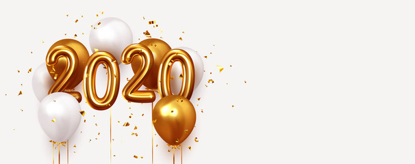Happy New Year 2020. Realistic gold and white balloons. Background design metallic numbers date 2020 and helium ballon on ribbon, glitter bright confetti
