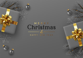 Fototapete - Christmas background. Xmas design realistic gift boxes with golden lush bow, pine branches, fir spruce branch, decorative balls. 3d dark gray snowflake. Flat lay, top view. New year's composition