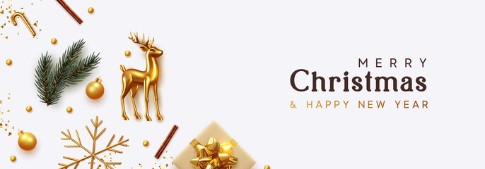 Christmas banner. Xmas Background with realistic objects, Gold Metal Deer, spruce branches, gift boxes. New Year's traditional decorations, viewed from above. Horizontal poster, header, website. Fotomurales
