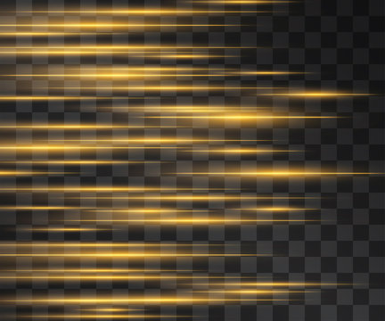 Laser golden yellow glow vector streams. Motion effect light blinking with glitter sparks on dark background. Light energy shots for modern hi-tech design. Power neon flow of high speed particles.