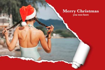 New Year Christmas card, poster template mocap with effect of ripped paper , a girl in a Santa Claus hat on the tropical sea, Merry Chrismas concept