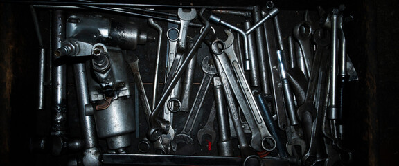 Mechanic tools for repairing cars that are integrated into the tray - can be used for banner & background. Copy space.