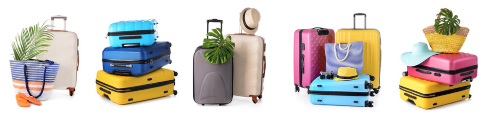 Set of suitcases on white background Wall mural