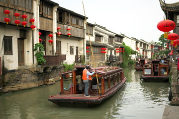 Suzhou,China-September 14, 2019: Suzhou Ancient Grand Canal in Suzhou, China