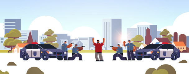 arrested criminal character with raised arms robber caught by police officers theft security authority justice law service concept cityscape background full length horizontal vector illustration