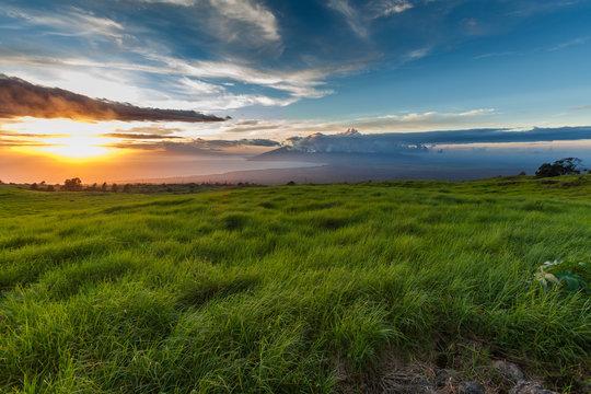 Maui, Thompson road sunset near Kula on the western slope of  Haleakalā looking towards Lahaina