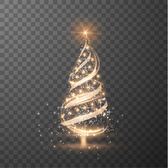 Estores personalizados con motivos artísticos con tu foto Merry Christmas transparent shiny tree silhouette on checkered background