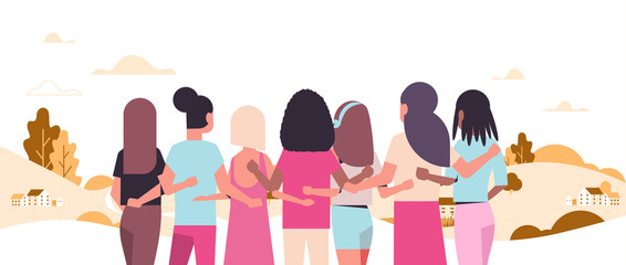 women standing and embracing together mix race girls struggling against breast cancer disease awareness and prevention concept landscape background flat portrait rear view horizontal vector