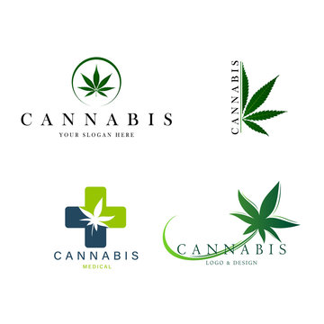 set of green medical cannabis emblem, logo . classic vintage style