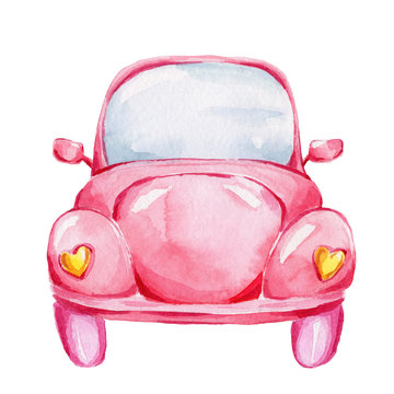 Pink retro car; watercolor hand draw illustration; with white isolated background
