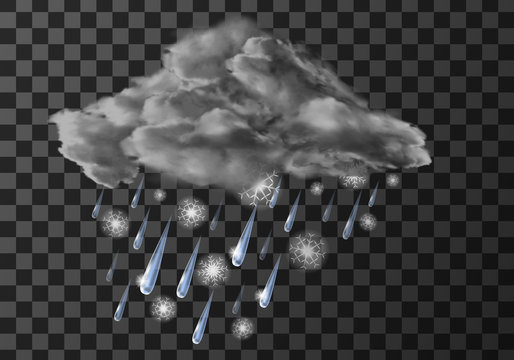 Rain cloud with wet snow weather meteo icon vector illustration