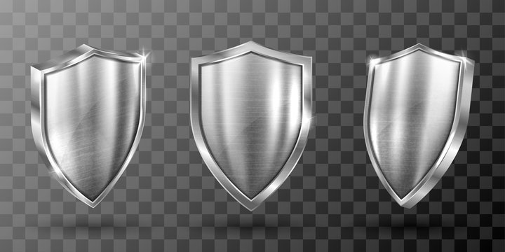 Metal shield with frame realistic vector illustration. Blank silver steel metallic panel with reflection glow, award trophy or certificate template, front side view isolated on transparent background